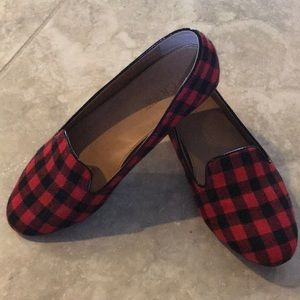 Red and black plaid flats from J Crew